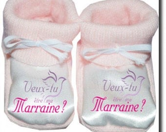 "Custom baby booties ""will you be my godmother"""