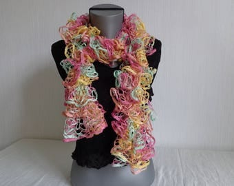 Hand knitted scarf FROU FROU multicolor pink/green with water/yellow/salmon