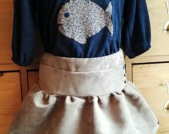Navy girl skirt tunic beige and blue Legging set.