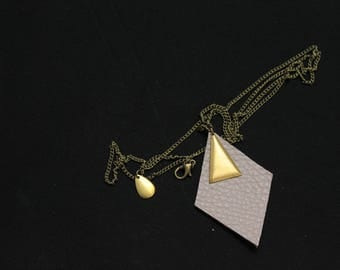 Necklace Angulus gray and gold