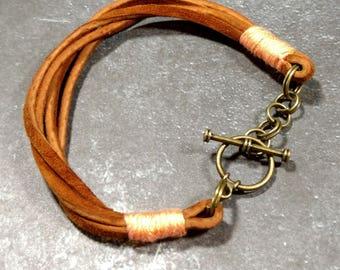 Camel Suede/Coral Cotton Toggle Bracelet