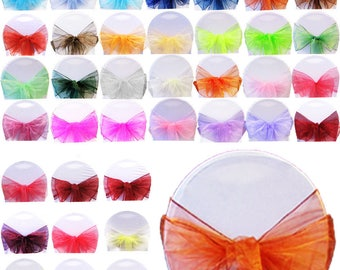 150pcs Organza sash chair bows for wedding party wider fuller