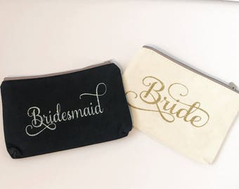 Bride clutch purse - bridesmaid clutch purse - bridal party gift bag - gift idea - custom gift bag - gold - silver - ivory purse