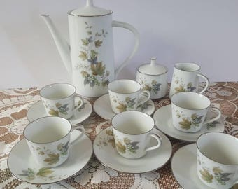 Vintage Naritake RC Japan Deauville 764 Coffee Set for 6
