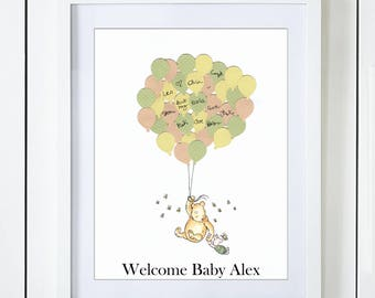 Classic Winnie The Pooh & Piglet Baby Shower Guest Book Alternative with Gender Neutral Green Yellow Peach Balloons White Background