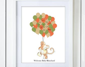 Gender Neutral Monkey Baby Shower Guest Book Alternative Green Orange Beige