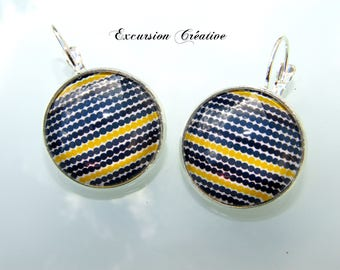 Earrings sleepers cabochons 20 mm blue graphic white and yellow