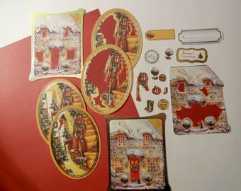 19 Christmas cut-outs - snowy House - die - cut - embellishments