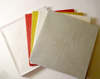 12 glittering square cards + envelopes - creation kit Christmas cards, holidays - stationery