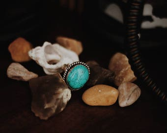 Faux turquoise statement ring from Mideast: boho gypsy bohemian