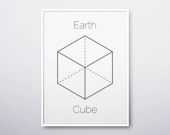 Cube Printable, Cube Print, Sacred Geometry Art, Geometric Print, Platonic Solids, Cube, Modern Home Decor, Cube Art Print, INSTANT DOWNLOAD