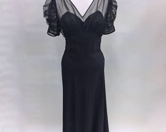 1940s Black Sheer Evening Gown