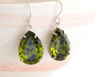 Olive Green Earrings, Green Rhinestone Earrings, Swarovski Crystal Earrings Nickel Free, Khaki Crystal, Green Crystal Jewelry Olive, Dejana