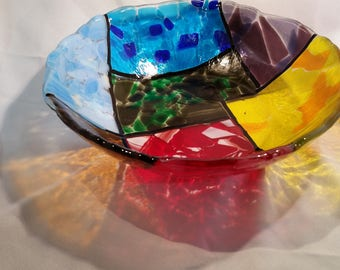 Stained glass looking Fused Glass Bowl