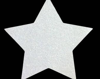 10 X 9.5 cm white glittery star fusible pattern