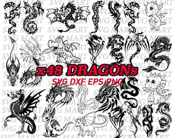 dragon svg, line art, tribal dragon, chinese dragon, cute dragon, stencil, line art, silhouette, png, eps, dxf, vinyl, vector, iron on,decal
