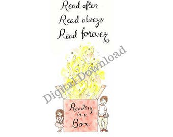 Reading in a Box Bookmark - digital - illustrated