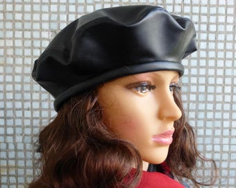 Eco leather beret Black beret Beret Beret hat Leather hat Ladies hat Hat for women Hat Beret for women French beret Spring beret Black eco