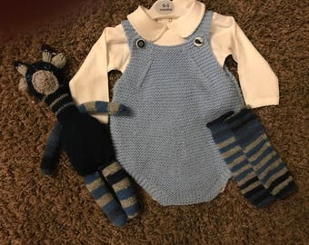 Hand knit baby romper, long sleeve onesie, leg warmers, and toy