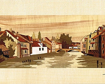Village of France marquetry 38cm x 21cm