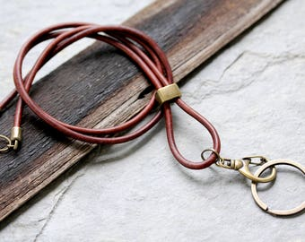 Brown Leather Lanyard, Lanyard, ID Badge Lanyard, Leather ID Badge Holder, Leather ID Key Lanyard, Key Lanyard, Leather Key Lanyard