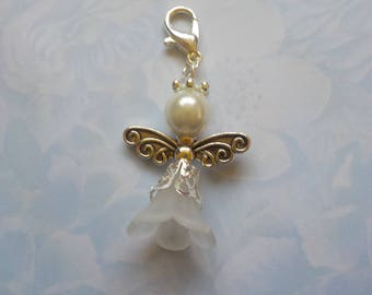 Mini angel beaded bag charm - lucky charm - guardian angel - zipper pull - gifts for Her