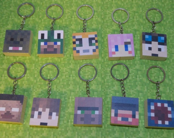 wooden minecraft style keyring Dantdm stampy creeper and more