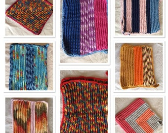 Oven mitts, different colors and shapes