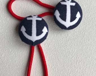 Nautical Hair Elastics, Fabric covered Buttons with white anchor and blue background