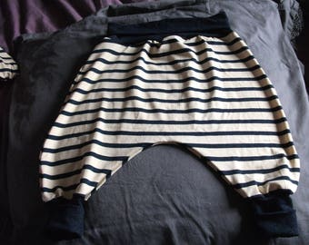 Harem pants for baby type sailor Navy Blue and cream