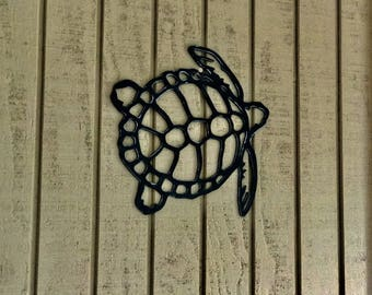 "Sea Turtle Wall hanging art 15"" X 13"" Unfinished steel"