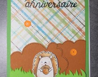 "wedding invitation ""happy birthday"" hedgehog in autumn colors"