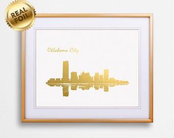 Oklahoma City Skyline Gold Print, Real Gold Foil Print, Oklahoma City Poster, Oklahoma City Wall Art, Oklahoma City Print, GoldenGraphy