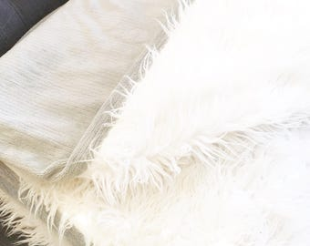White Faux Fur Throw with Minky Fabric