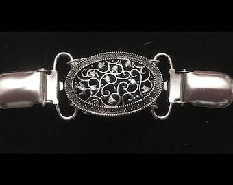 Silver Antique Oval Carly Clip - Dress Clip - Sweater Clip - Cinch Clip