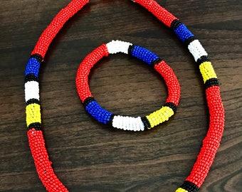 Zulu beaded necklace and bracelet