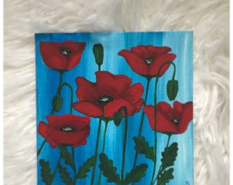 POPPIES - Acrylic painting 6x6 canvas