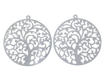 Set of 2 pendants prints filigree tree 43 x 40 mm stainless steel