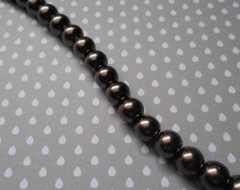 Set of 20 glass pearls 8 mm color: Brown