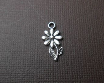 Charm or pendant metal sunflower silver 19 x 10 mm