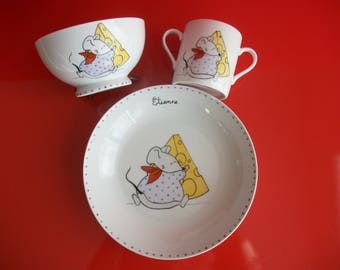 """Custom box in Limoges porcelain baby: plate, glass and Bowl child """"Mouse and his Swiss cheese"""""""