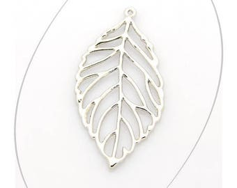 A pendant, leaf, silver, 51 x 26 mm, thickness 2 mm, 1.5 mm hole