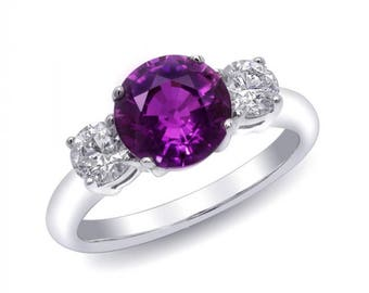 Natural Unheated Purple Sapphire 2.09 carats set in 18K White Gold Ring