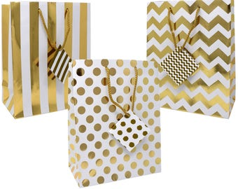 12 pack Medium Sized Gold White Gift Bags Assorted Design Bags, Shopping, Merchandise, Party, Gift Bags Chevron Stripes Polka Dots