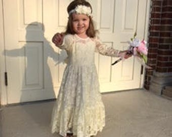 Girls Cream/beige Lace Dress Easter Dress Birthday Dress Flower Girl Dress Party Dress with Free Matching Lace Flower Headband