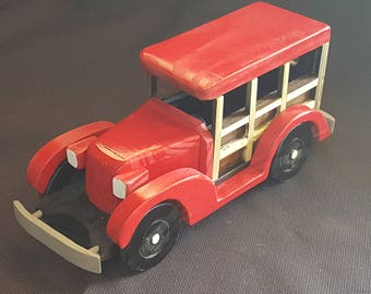 "Handmade Old Fashioned ""Woody"" Toy Car"