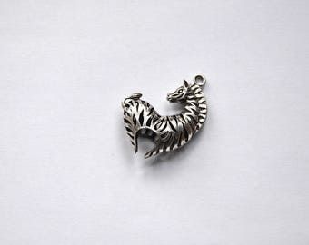 Zebra BR33 - 1 large charm in silver