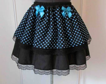 Skirt bottom blue polka dot black
