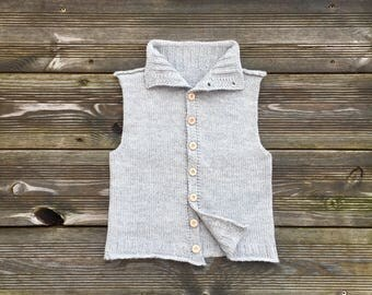 Alpaca toddler vest knit kids vest with buttons boy vest baby girl vest alpaca baby clothes kids outfit wool baby sweater gray lavender rose