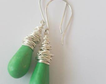 Drop earrings. Silver drop earrings. Dangle earrings. Wire wrapped earrings. Semi precious turquoise earrings. Turquoise drop earrings.